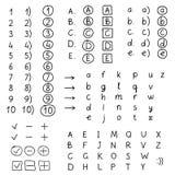 Grupo de números e de letras de desenho da mão Imagens de Stock