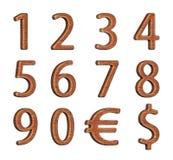 Grupo de números de madeira Imagem de Stock