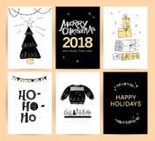 Grupo de Natal do vetor, projetos de cartão das felicitações do ano novo ilustração royalty free