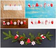 Grupo de Natal e de anos novos das decorações para seu projeto Fotografia de Stock