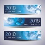 Grupo de Natal horizontal, bandeiras do ano novo - 2018 Imagens de Stock