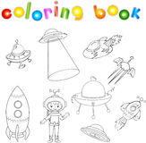 Grupo de nave espacial, de nave espacial e do veículo aeroespacial Pires de voo, satélite e astronauta Livro para colorir para cr Imagem de Stock