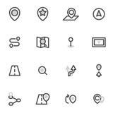Grupo de navegação dos ícones do vetor, lugar Ícone do navegador Imagens de Stock Royalty Free