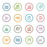 Grupo de negócio e de ícones lisos de mercado fotos de stock
