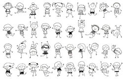 Grupo de niños, bosquejo de dibujo