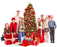 Grupo de niños con Papá Noel. Imagenes de archivo