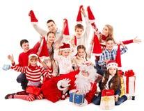 Grupo de niños con Papá Noel. Fotos de archivo