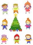 Grupo de niños el invierno imágenes de archivo libres de regalías