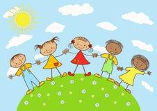 Grupo de niños felices. Foto de archivo