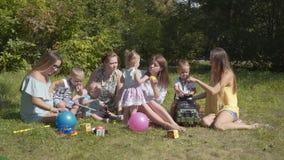 Grupo de niños felices que juegan al aire libre en el parque del verano Las madres se ocupan a sus niños que se sientan en la hie almacen de video