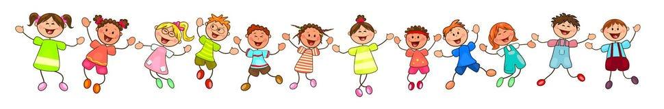 Grupo de niños felices, sonrientes stock de ilustración