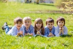 Grupo de niños preescolares, amigos y hermanos, jugando en el PA Fotografía de archivo