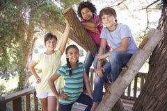 Grupo de niños que cuelgan hacia fuera en casa del árbol junto Imagen de archivo libre de regalías