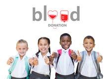 Grupo de niños y de concepto de la donación de sangre imagen de archivo libre de regalías