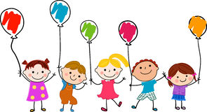 Grupo de niños y de globo libre illustration