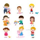Grupo de niños y de juguetes Fotos de archivo libres de regalías