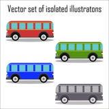 Grupo de ônibus retros da cidade em um fundo branco Imagem de Stock Royalty Free