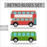 Grupo de ônibus retros da cidade em um fundo branco Imagens de Stock Royalty Free