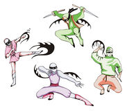 Grupo de ninjas Imagem de Stock Royalty Free