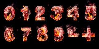 Grupo de números ardentes do inferno Fotos de Stock
