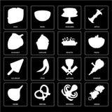 Grupo de no espeto, polvo, cebola, carniceiro, gelado, risoto, avelã ilustração royalty free