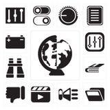 Grupo de no mundo inteiro, dobrador, orador, vídeo, desagrado, Notebo ilustração royalty free