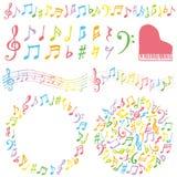 Grupo de notas musicais coloridas Imagens de Stock Royalty Free
