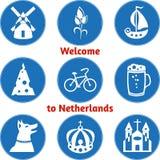 Grupo de nove ícones redondos monocromáticos brancos em um fundo azul Fotos de Stock Royalty Free