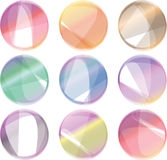 Grupo de nove botões redondos coloridos Foto de Stock