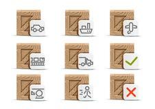 Grupo de nove caixas para a entrega Ilustração do Vetor