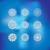 Grupo de nove flocos de neve em um fundo borrado Foto de Stock