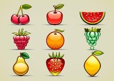 Grupo de nove frutos coloridos Fotografia de Stock