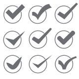 Grupo de nove marcas ou de tiquetaques cinzentos e brancos de verificação diferentes do vetor Foto de Stock Royalty Free