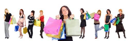 Grupo de nove meninas de compra a lindo na parte dianteira Imagem de Stock