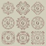 Grupo de nove monogramas do vintage Imagens de Stock
