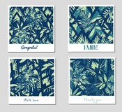 Grupo de nove testes padrões ou fundos abstratos criativos com as folhas tropicais coloridas Imagens de Stock