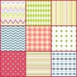 Grupo de nove testes padrões sem emenda coloridos Fotos de Stock Royalty Free