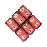 Grupo de nueve baterías de voltio imagen de archivo libre de regalías