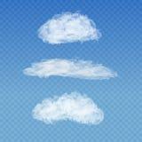 Grupo de nuvens brancas transparentes realísticas na Imagem de Stock