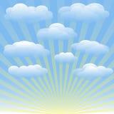 Grupo de nuvens, céu azul do vetor, raios de sol Foto de Stock