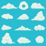 Grupo de 12 nuvens do pixel Imagem de Stock Royalty Free