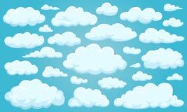 Grupo de nuvens de formas diferentes no céu para seu projeto da site, UI, app Meteorologia e atmosfera no espaço Imagens de Stock Royalty Free