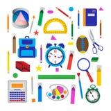 Grupo de objetos da escola Fotos de Stock Royalty Free