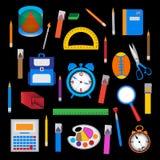 Grupo de objetos da escola sobre o preto Fotografia de Stock Royalty Free