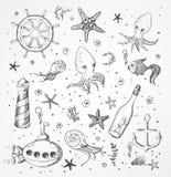 Grupo de objetos do esboço do mar Imagens de Stock Royalty Free