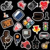 Grupo de objetos em um estilo caótico da banda desenhada da maneira Imagem de Stock Royalty Free