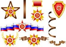 Grupo de objetos militares, relacionado a 23 de fevereiro Foto de Stock Royalty Free