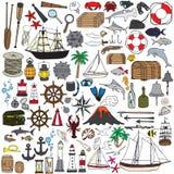 Grupo de objetos que simbolizam a navegação Fotografia de Stock