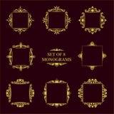 Grupo de oito monogramas decorativos do vintage ilustração stock