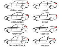 Grupo de oito várias formas do carro como uma ilustração do vetor Fotografia de Stock Royalty Free